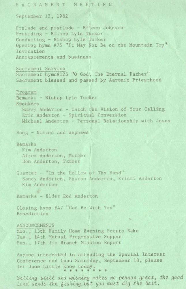 1982.16 Missionary Talk Program
